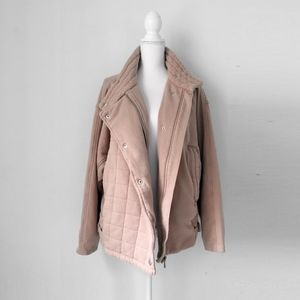FREE PEOPLE pink moto biker jacket sweatshirt s m